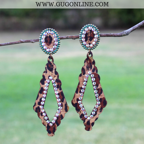 Pink Panache Turquoise Mini Oval and Leopard Diamond Earrings with AB Crystals