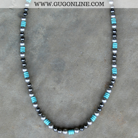 Turquoise and Silver Beaded Necklace