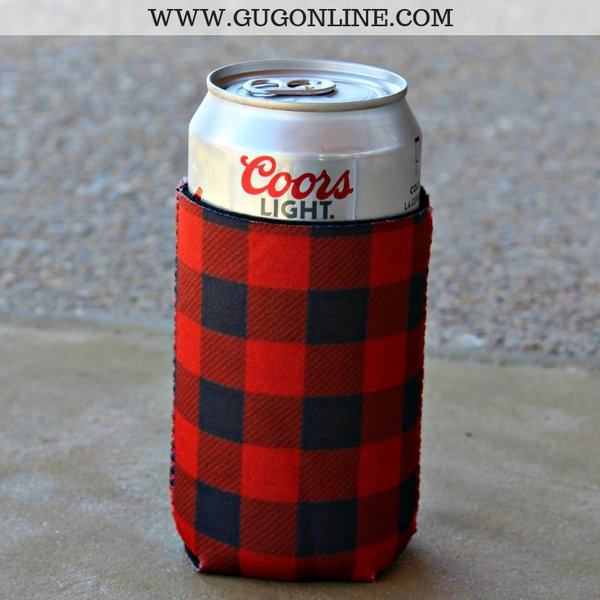 Buffalo Plaid Can Koozie in Red