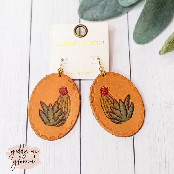Oval Leather Cactus Blossom Earring in Tan