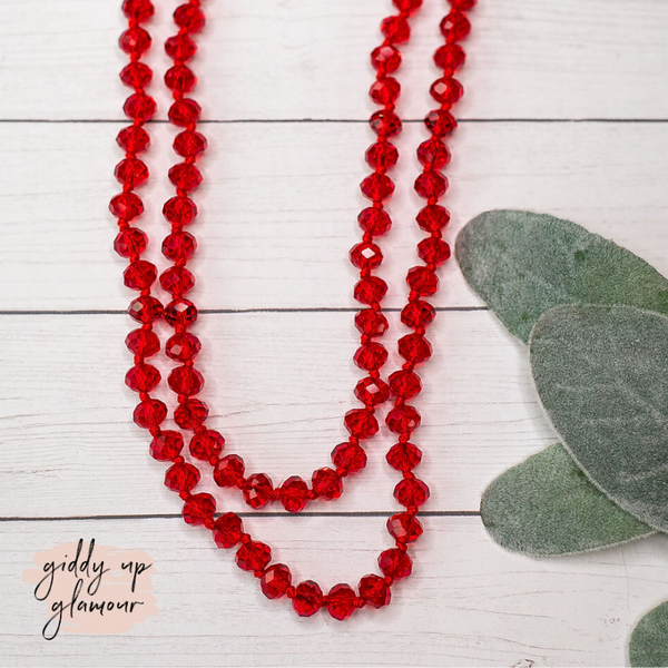60 Inch Long Layering 8mm Crystal Strand Necklace in Clear Red