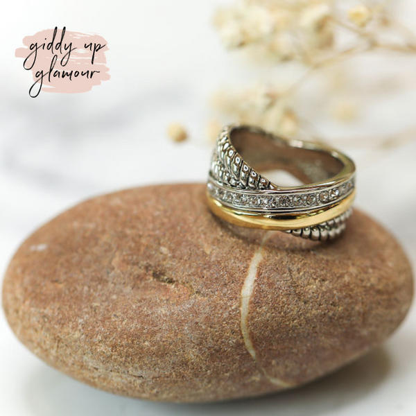 Designer Inspired | Two Toned X Cross, Crystal & Rope Textured Ring