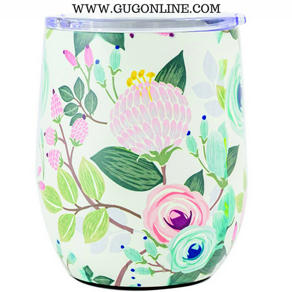 Peach Floral Stainless Drink Tumbler