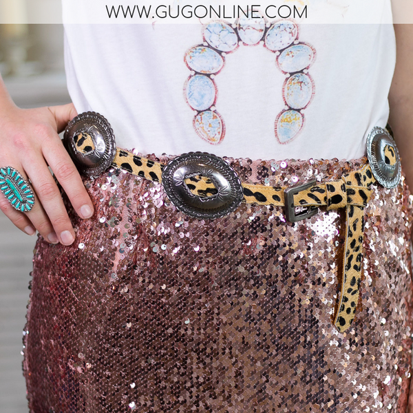 Cheetah Print Belt with Silver Conchos