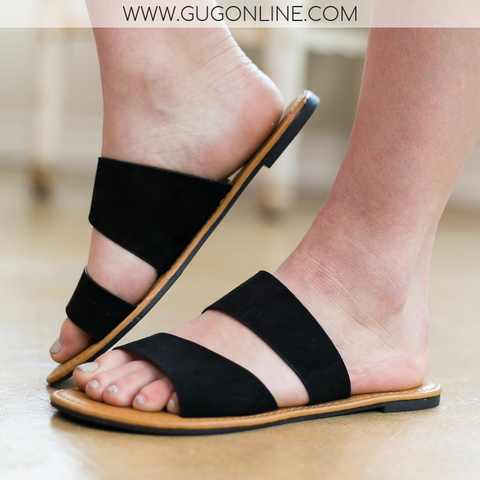 Make Things Easy 2 Band Asymmetrical Slide Sandals in Black