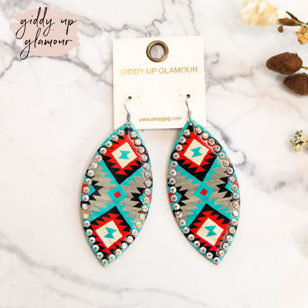 Free Bird Feather Shape Earrings in Turquoise Aztec