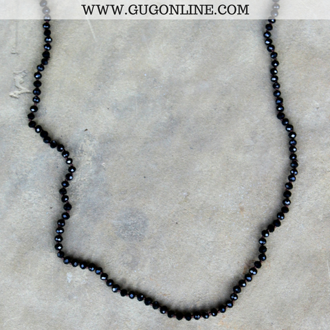 34 Inch Long Layering Crystal Strand Necklace in Black