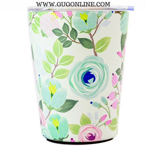 Peach Floral Stainless Coffee Tumbler