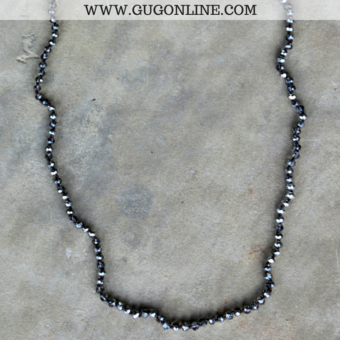 34 Inch Long Layering Crystal Strand Necklace in Gunmetal