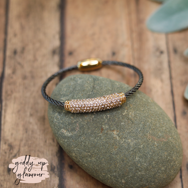Cable Bracelet in Charcoal Grey with a Gold and Clear Crystal Bar Charm