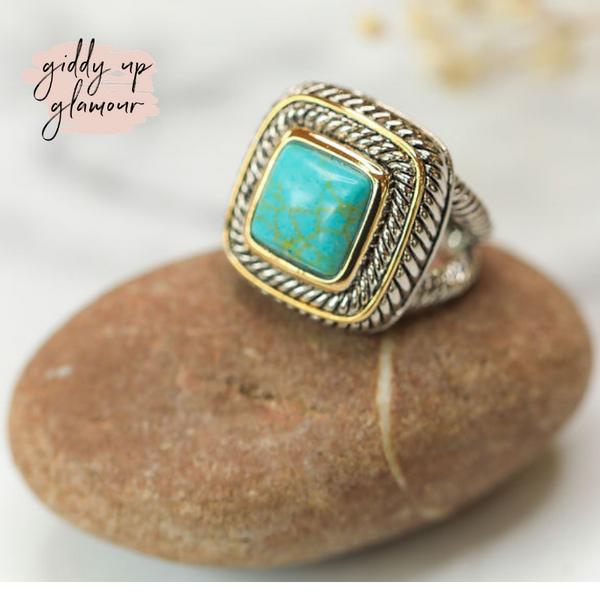 Large Two Toned Ring with Turquoise Stone