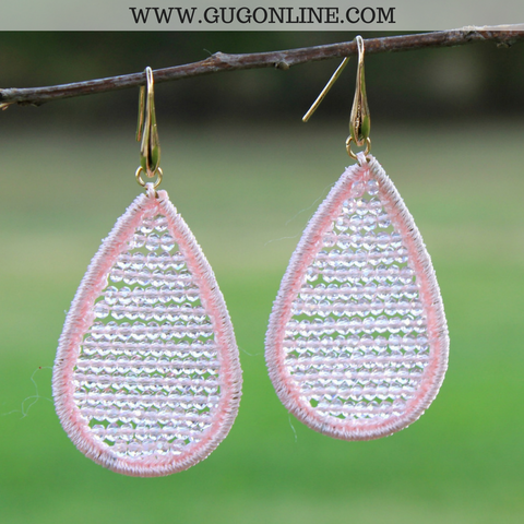 Crystal Teardrop Earrings in Light Pink