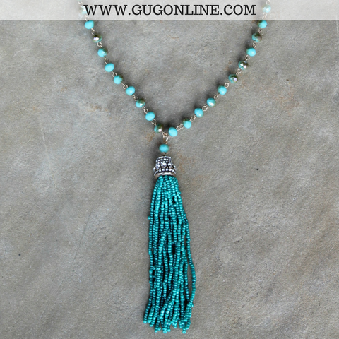 Long Turquoise Crystal Necklace with Beaded Tassel