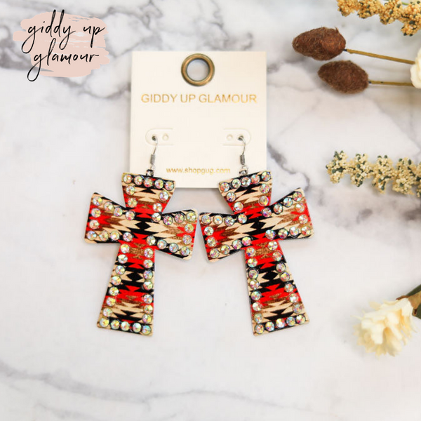 Amazing Grace Cross Earrings in Red Aztec