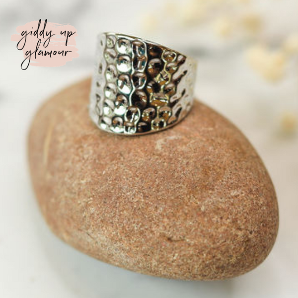 Designer Inspired | Concave Hammered Modern Ring in Silver Tone