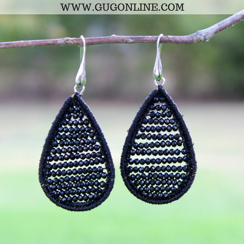 Crystal Teardrop Earrings in Black