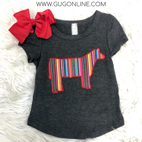Kid's Steer Showin' Sweetheart Serape Patch Tee in Charcoal Grey