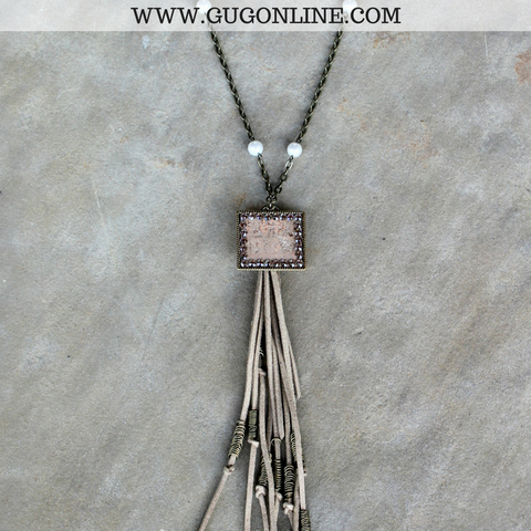 Pink Panache Bronze Chain Tassel Necklace with Clear Crystals and Bronze Square with Snakeskin Inlay
