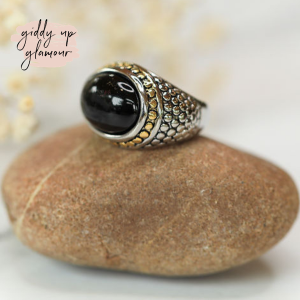 Designer Inspired | Two Toned Dome Fashion Ring with Black Stone