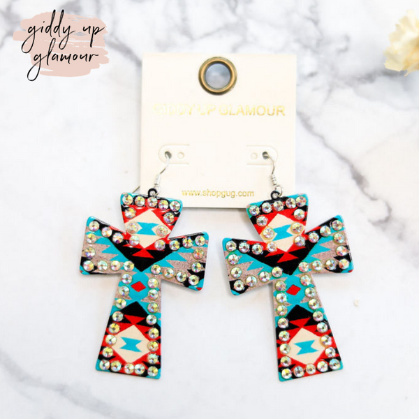 Amazing Grace Cross Earrings in Turquoise Aztec