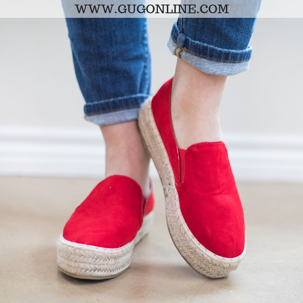 Cute Trendy Espadrille Red Shoes Wedge