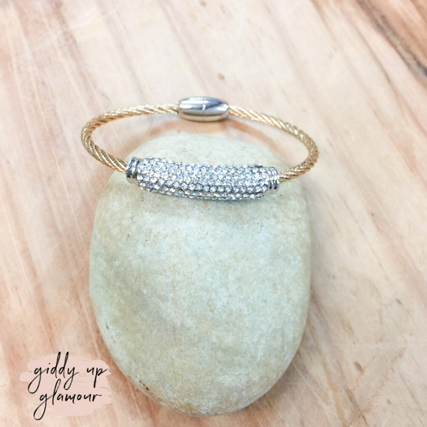 Cable Bracelet in Gold with a Silver and Clear Crystal Bar Charm