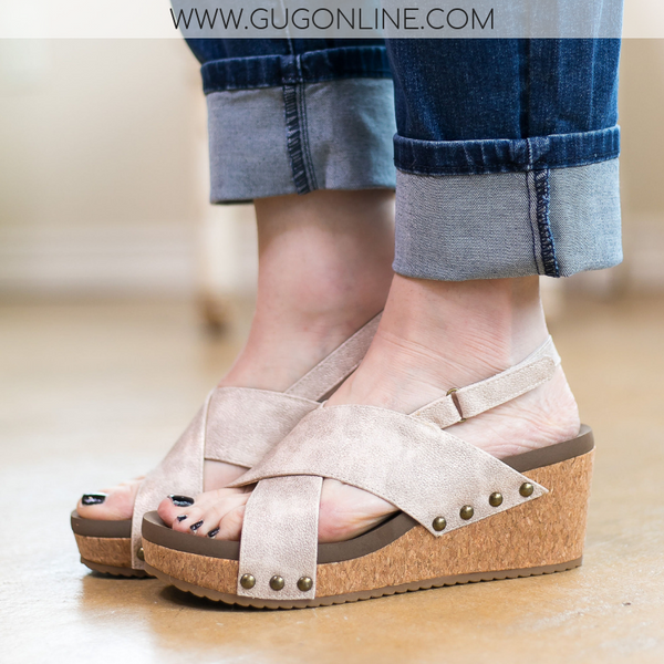 Corky's | Know Your Path Distressed Criss Cross Wedges in Gold