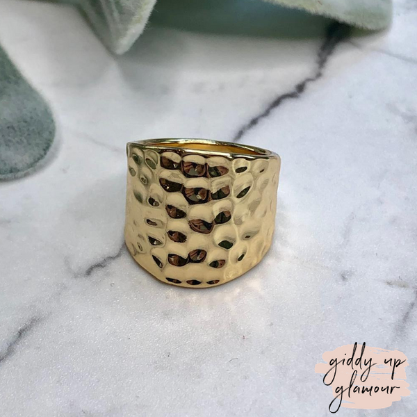 Designer Inspired | Concave Hammered Modern Ring in Gold Tone