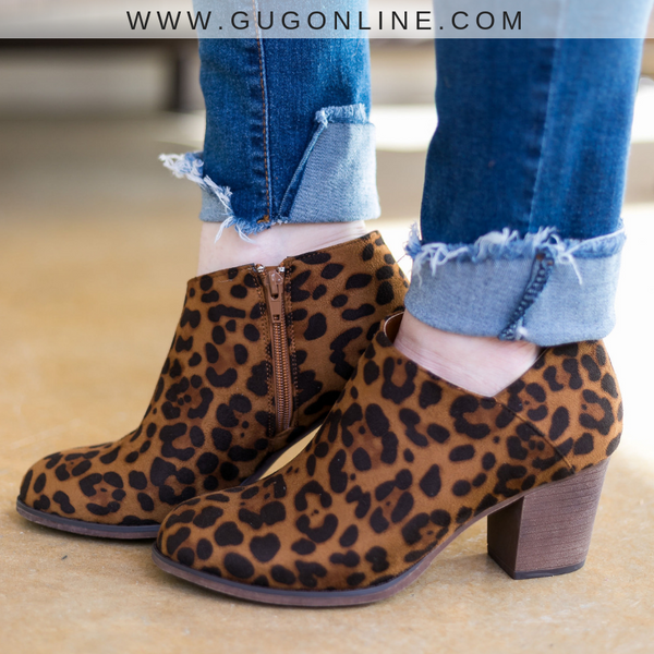 Prowlin' Around Heeled Booties in Leopard
