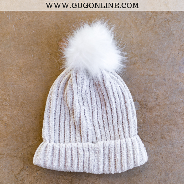 Chenille Beanie with Pom Pom in Ivory