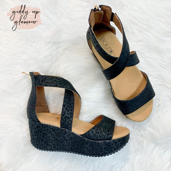 Corky's | Fay Strappy Sandal Wedges in Black Leopard