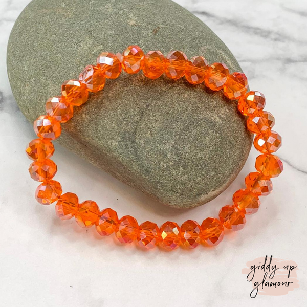 Crystal Beaded Stacker Bracelet in Clear Orange