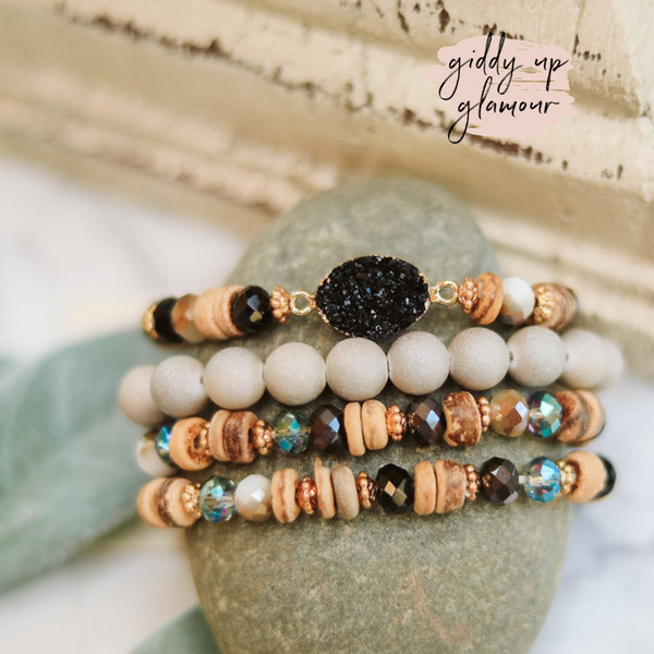 4 Piece Beaded Bracelet Set with Druzy Pendant in Black