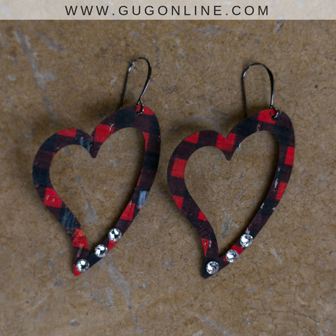 Pink Panache Buffalo Plaid Heart Earrings with Crystals