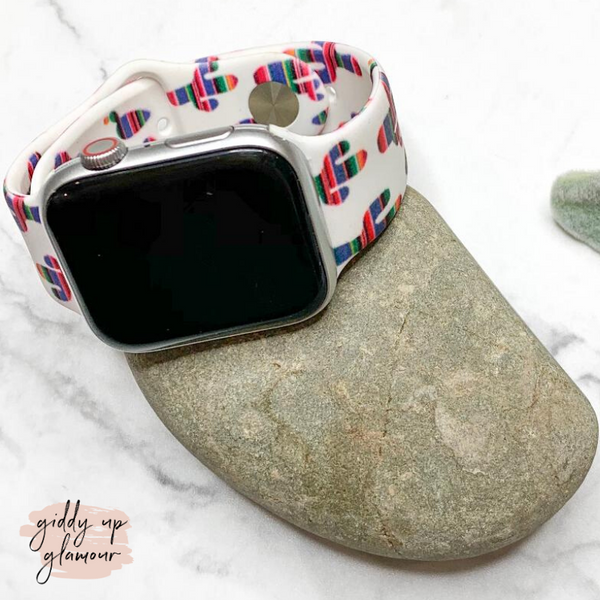 Serape Cactus Apple Watch Band in White