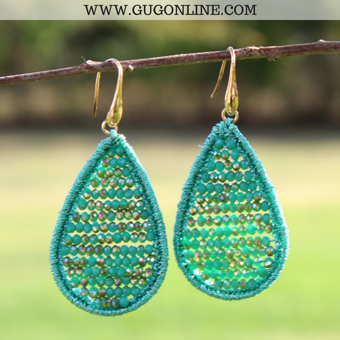 Crystal Teardrop Earrings in Turquoise