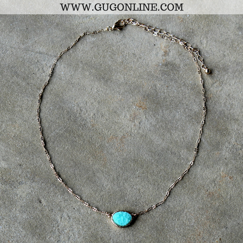 Short Gold Necklace with Mint Druzy Stone