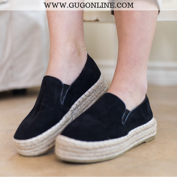 Trust Your Path Suede Platform Espadrille Flats in Black - Size 7.5 - FURTHER MARKDOWN!