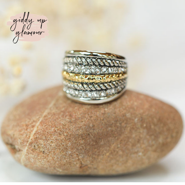 Designer Inspired | Two Toned Stacked Statement Fashion Ring