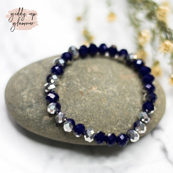 Crystal Beaded Stacker Bracelet in Navy and Silver