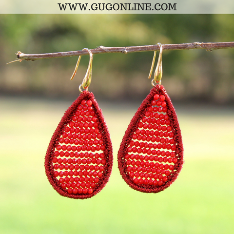 Crystal Teardrop Earrings in Red