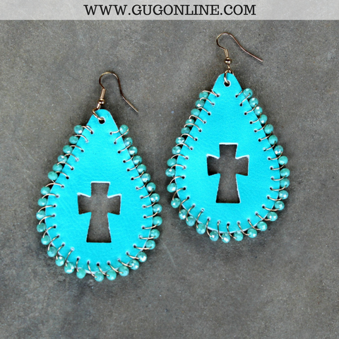 Beaded Leather Teardrop Earrings with Cross Cutout in Turquoise