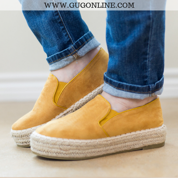 Trust Your Path Suede Platform Espadrille Flats in Mustard Yellow - Size 6, 6.5, 7, 7.5, 8.5, 9- FURTHER MARKDOWN!!