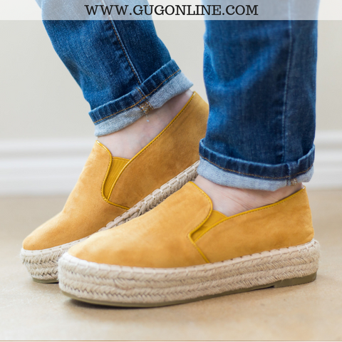 Trust Your Path Suede Platform Espadrille Flats in Mustard Yellow