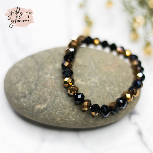 Crystal Beaded Stacker Bracelet in Black and Gold