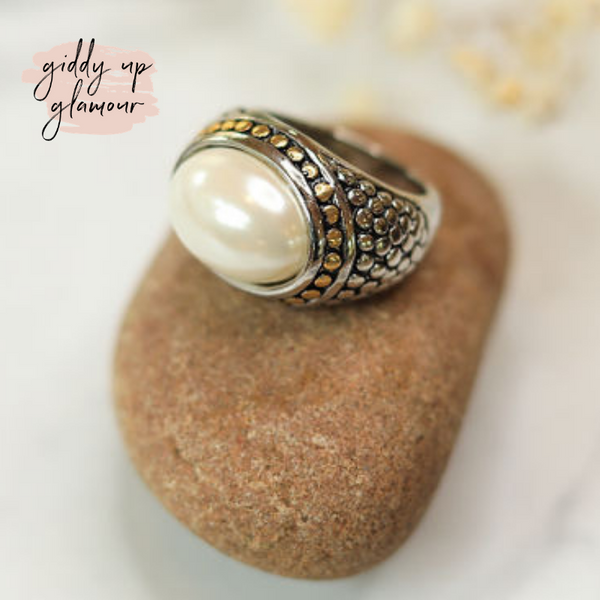 Designer Inspired | Two Toned Dome Fashion Ring with Cream Pearl Stone