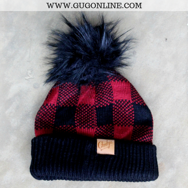 Buffalo Plaid Beanie with Pom Pom in Red