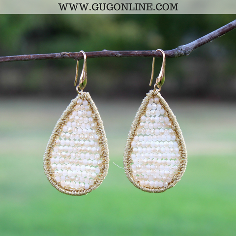 Crystal Teardrop Earrings in Ivory