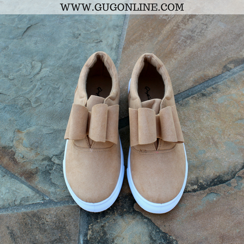 Walk On Out Suede Bow Sneakers in Toffee