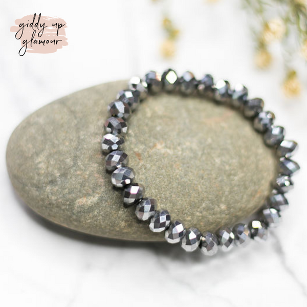 Crystal Beaded Stacker Bracelet in Platinum